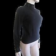 Vintage Sweater Black Beaded Lambswool Angora Rabbit Hair