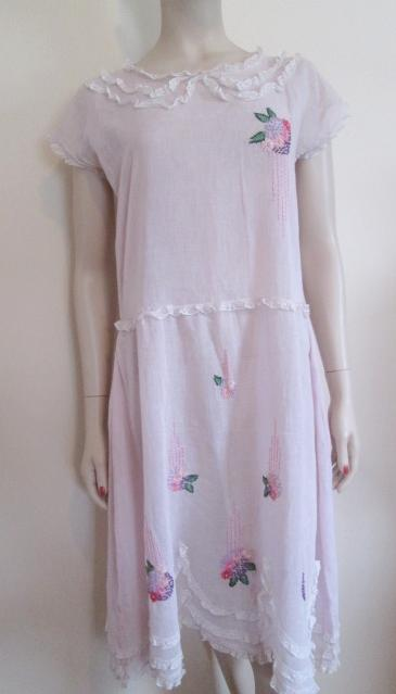 flapper peasant dress vintage 1920s pink gauze hand embroidered lace from vanityflairvintage on