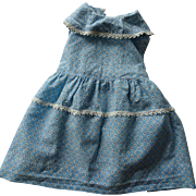 Large Doll Pinafore Dress Vintage 1930s Blue Floral Cotton Feedsack Feed Sack Depression Era