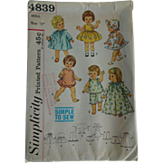 18 Inch Doll Wardrobe Vintage Sewing Pattern Simplicity 4839