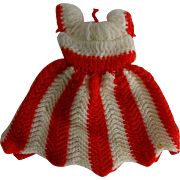 Vintage Ideal Tammy Doll Sweater Dress Red and White Striped Knit
