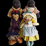Primiive Uncle Toms Cabin Cloth Dolls Antique Set of 4 Eva Topsy Uncle Tom Eliza Civil War