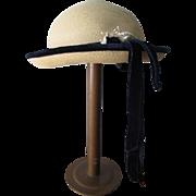 Large Doll Child Bonnet Hat Vintage 1960s Straw Navy Velvet Trim Chinstrap
