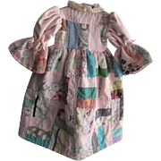 Vintage Feedsack Quilted Doll Dress With Hanger