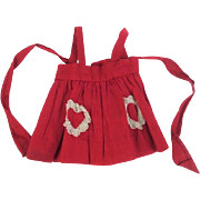Vintage 1930s Red Feedsack Doll Apron Pinafore Lace Heart Pockets