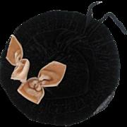 Victorian Velvet Small Doll Hat Wide Brimmed Black Peach Velvet Bows