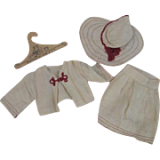 Vintage 1930s Linen Doll Suit Skirt Jacket Wide Brim Hat