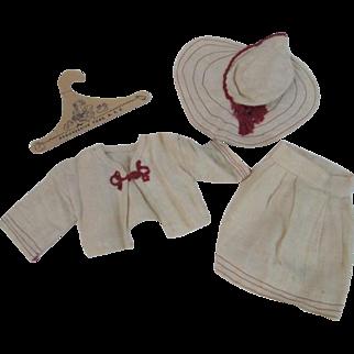 Vintage 1930s Linen Doll Suit Skirt Jacket Wide Brim Hat