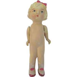 Occupied Japan Doll Vintage 1940s Bisque Frozen Charlotte Flapper Blonde Girl