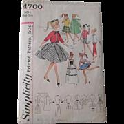 Vintage Barbie Doll Clothing Sewing Pattern Weekend Wardrobe Simplicity 4700