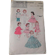 Vintage 22 Inch Doll Wardrobe Sewing Pattern Butterick 7973