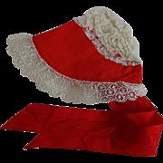 Doll Bonnet Vintage 1950s Red White Lace