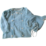 Vintage 1950s Baby Boy Large Doll Sweater Bonnet Set Fay Knitwear Nylon