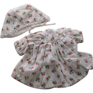 Mama Doll Dress Bonnet Vintage 1950s Floral Cotton Set