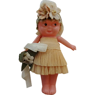 Celluloid Kewpie Bride Doll Vintage 1920s Carnival Prize Toy