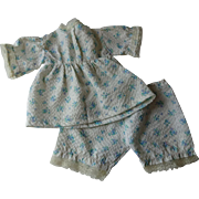 Mama Doll Clothing Vintage 1930s Shirt Pants Shorts Blue White Floral Seersucker Lace