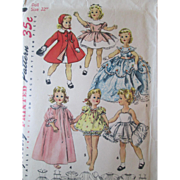 Doll Clothing Sewing Pattern Vintage 1950s Dress Bloomer Frock Coat Peignoir 22 Inch Doll