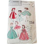 18 Inch Doll Clothing Sewing Pattern Vintage 1960s Butterick 8354 Wardrobe
