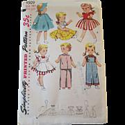 Saucy Walker Doll Wardrobe Sewing Pattern Vintage 1950s UNCUT Factory Folded 16 Inch Doll