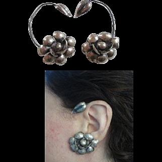 Antique Victorian Sterling Ear Cuffs Wraps Flower Marked