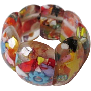 Confetti Lucite Bracelet Vintage 1960s Rare Stretch Filled With Fun