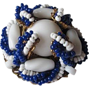 Miriam Haskell Brooch Vintage 1950s Signed Beaded Blue White Milk Glass Pin