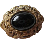 Signed Miriam Haskell Broch Vintage 1950s Black Cabochon Brass Filigree