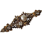 Baroque Brooch Miriam Haskell Vintage 1940s Signed Jewelry Bar Pin
