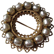 Baroque Haskell Brooch Vintage 1940s Faux Pearl Brass Filigree Wreath