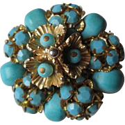 HOLD For Suzan: Hattie Carnegie Cluster Brooch Vintage 1950s Turquoise Filigree Signed