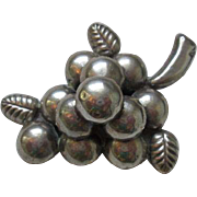 Mexico Sterling Grapes Brooch Vintage 1950s Signed Large