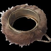 Mink Fur Bracelet Vintage 1950s Hinged Safety Chain
