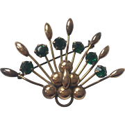 Star Art Stylized Peacock Brooch Vintage 1940s Emerald Rhinestone 12kgf