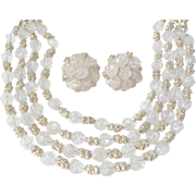 Vintage 1940s Crown Trifari Necklace Earrings Set