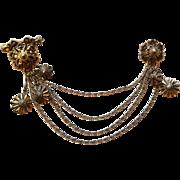 Vintage 1930s Sterling Art Nouveau Chatelaine Sweater Guard Double Brooch Chains Gold Vermeil