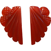 Cherry Red Bakelite Dress Clips Vintage 1940s Art Deco Translucent Deeply Carved Pair
