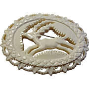 Carved Celluloid Reindeer Brooch Vintage 1930s C Clasp Christmas Holiday