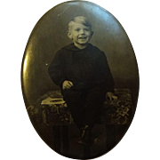 Antique Victorian Kodak Photo Pin Brooch Celluloid Boy Child Large Size Black White Photograph