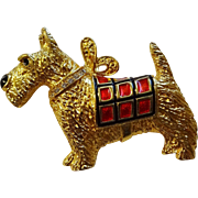 Signed Scottie Dog Pin Brooch Pendant Rhinestone Plaid Premier Designs