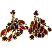 Red Kramer Chandelier Earrings Vintage 1960s Statement Jewelry Pair