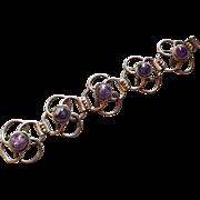 Vintage 1940s Sterling Silver Amethyst Link Bracelet