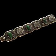 Jose Anton Sterling SiLver SS Tribal Bracelet Vintage 1940s Carved Green Onyx Aztec Masks Calendar Link
