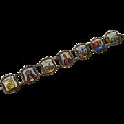 800 Silver Enamel Souvenir Link Bracelet Caracas Venezuela Traveler Marked