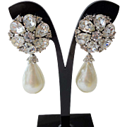 Vintage 1960s Rhinestone Faux Pearl Drop Dangle Clip Earrings Stunning Holiday Party Wear