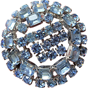 Large Powder Blue Rhinestone Brooch Vintage 1950s Trembler Pin