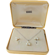 Sterling Faux Pearl Necklace Earrings Vintage 1950s Presentation Box
