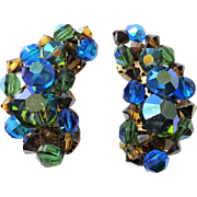 Hobe Climber Earrings Vintage 1950s Blue AB Aurora Borealis Beaded Clip Pair