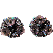 Hobe Vintage 1950s Clip Earrings Purple Beaded Flowers Rhinestones Pair