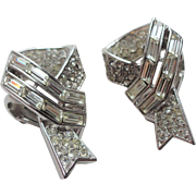 Crown Trifari Art Deco Rhinestone Earrings Vintage 1940s Post WWII Sweetheart Ribbon Silver Tone Signed Pair