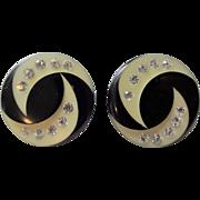 Art Deco Rhinestone Clip Earrings Vintage 1940s Celluloid Black Ivory
